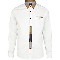White Holloway Road patch long sleeve shirt