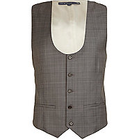 Brown Life of Tailor check waistcoat