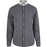 Grey contrast trim cut away collar shirt