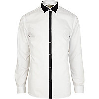 Black and white contrast trim shirt