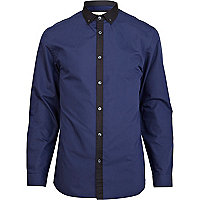Blue contrast placket shirt
