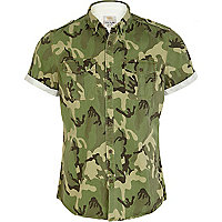 Green camo print military short sleeve shirt