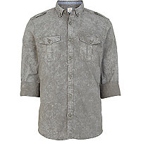 Green acid wash roll sleeve military shirt