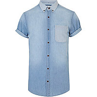 Light wash short sleeve denim shirt