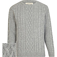 Light grey chunky cable crew jumper