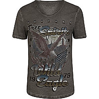Grey wild eagle washed scoop neck t-shirt