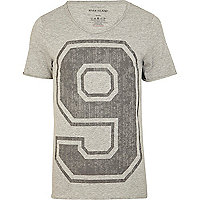 Grey varsity number print t-shirt