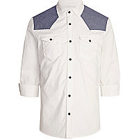White contrast panel western shirt