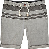 Grey colour block stripe turn up shorts