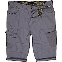 Blue utility pocket turn up long shorts