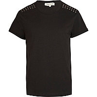 Black stud shoulder t-shirt