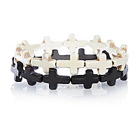 Black and white cross bead bracelet pack