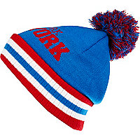 Blue and red New York beanie hat