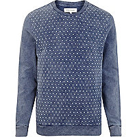 Navy acid wash polka dot front sweatshirt
