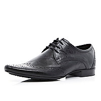 Black pointed brogues