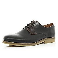 Black contrast panel formal lace up shoes