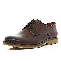 Brown contrast panel formal lace up shoes