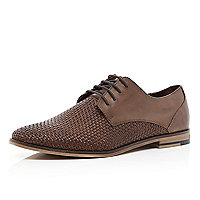 Brown woven panel formal lace up shoes