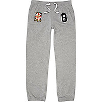 Grey marl varsity badge joggers