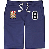 Blue varsity badge shorts