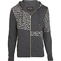 Grey leopard print colour block hoodie
