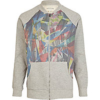 Grey colour block print baseball jacket