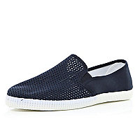 Blue mesh contrast panel slip on plimsolls