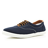 Navy lace up plimsolls