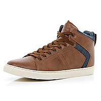 Brown denim panel lace up high tops