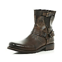 Brown distressed zip side biker boots