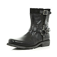 Black distressed side zip biker boots
