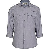 Navy stripe mini collar military shirt
