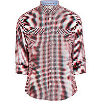 Red gingham mini collar military shirt