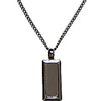 Gunmetal dog tag pendant neck chain
