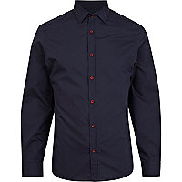 Navy contrast button poplin shirt