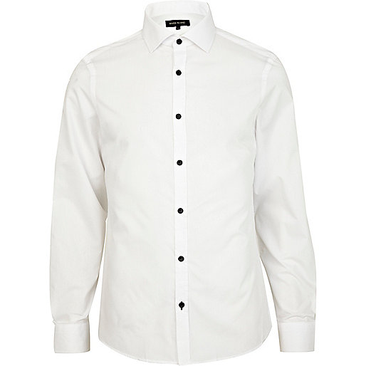 White contrast button poplin shirt
