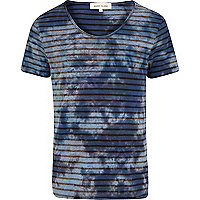 Blue tie dye stripe scoop neck t-shirt