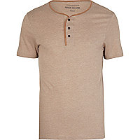 Brown contrast trim grandad t-shirt