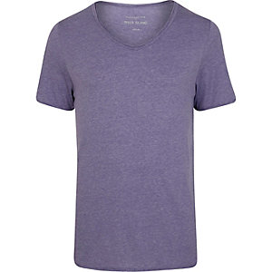 Purple low scoop neck short sleeve t-shirt