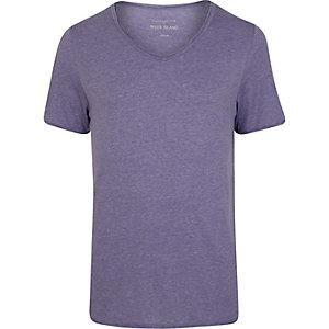 Purple low scoop neck short sleeve t-shirt