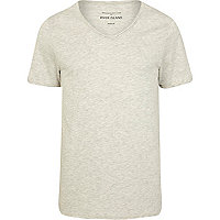 Ecru low scoop neck short sleeve t-shirt