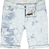 Light wash bleached out ripped denim shorts