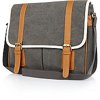 Grey canvas contrast trim satchel