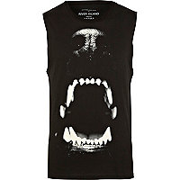 Black dog bite print tank top