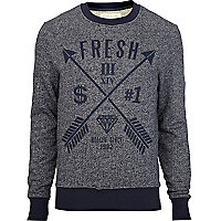 Navy fresh arrow print crew neck jumper