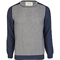 Blue textured colour block jumper