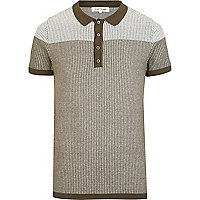 Green colour block pattern knitted polo shirt
