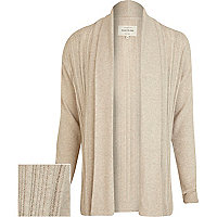 Ecru laddered texture waterfall cardigan