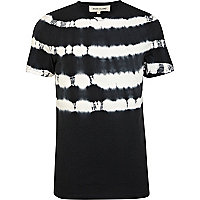 Black tie dye stripe short sleeve t-shirt