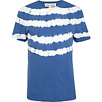 Blue tie dye stripe short sleeve t-shirt